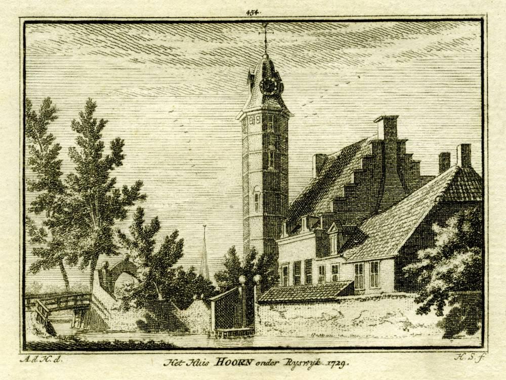 Huis te Hoorn in Rijswijk. Tekening Abraham de Haen, gravure Hendrik Spilman (Uit: Het Verheerlykt Nederland, Isaac Tirion, 1745/1774)